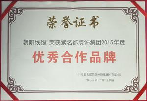 优秀合作企业证书